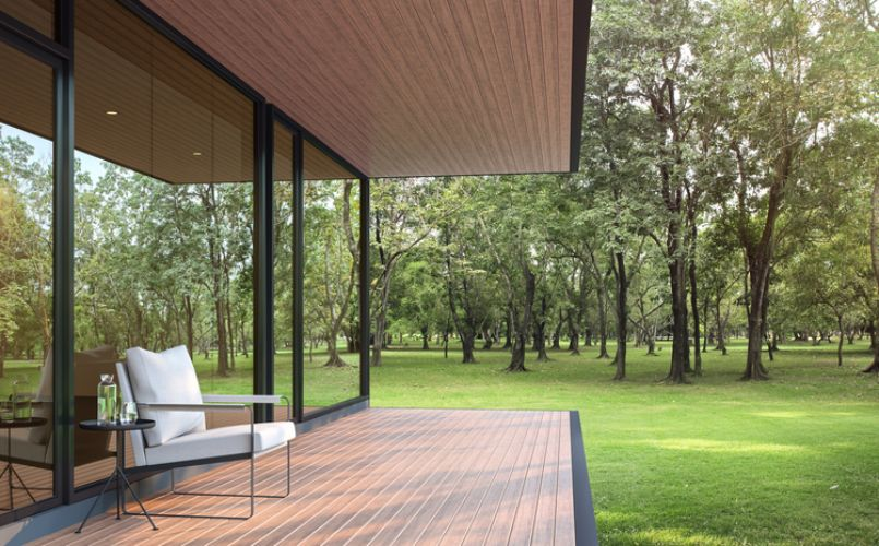 ourdoor timber deck with forest view | Carpenters Gold Coast